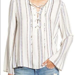 Wayf Lace-Up Stripe Blouse